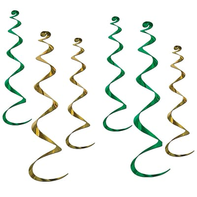 Beistle 4 - 24 & 2 - 36 Twirly Whirls; Green/Gold, 18/Pack