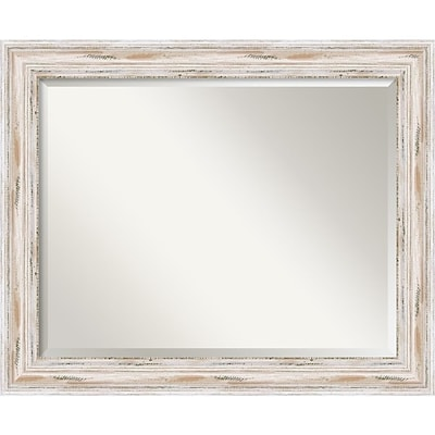 Amanti Art 33.12 x 27.12 Alexandria Large Wall Mirror, Distressed Whitewash