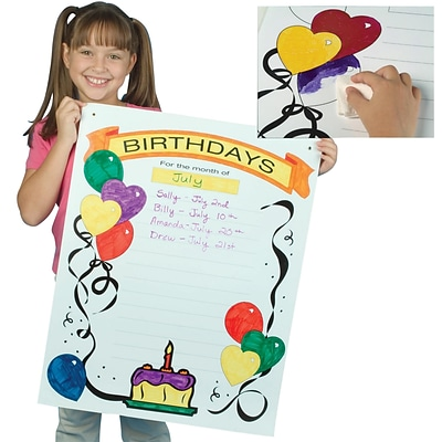 S&S® 22 x 28 Write-On Wipe-Off Poster, Happy Birthday