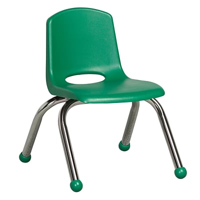 ECR4®Kids 10(H) Plastic Stack Chair With Chrome Legs & Ball Glides, Green, 6/Pack