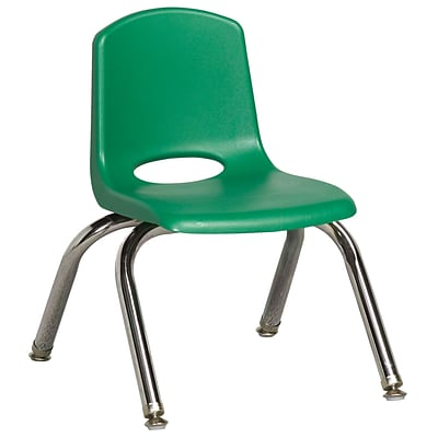 ECR4®Kids 10(H) Plastic Stack Chair With Chrome Legs & Nylon Swivel Glides; Green, 6/Pack