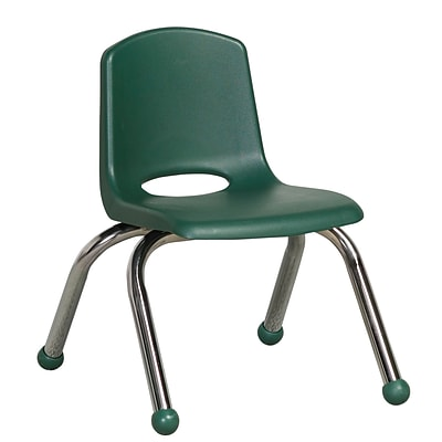 ECR4®Kids 10(H) Plastic Stack Chair With Chrome Legs & Ball Glides, Hunter Green, 6/Pack