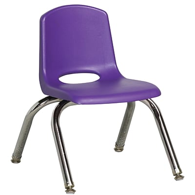 ECR4®Kids 10(H) Plastic Stack Chair With Chrome Legs & Nylon Swivel Glides, Purple, 6/Pack