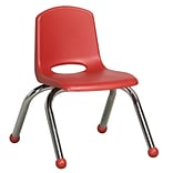 ECR4®Kids 10(H) Plastic Stack Chair With Chrome Legs & Ball Glides; Red, 6/Pack