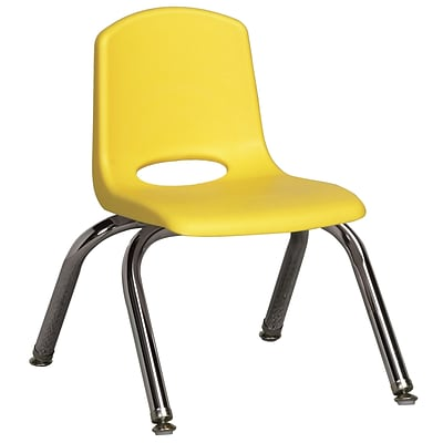 ECR4®Kids 10(H) Plastic Stack Chair With Chrome Legs & Nylon Swivel Glides; Yellow, 6/Pack
