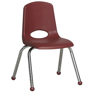 ECR4®Kids 6/Pack Burgundy 14(H) Plastic Stack Chairs