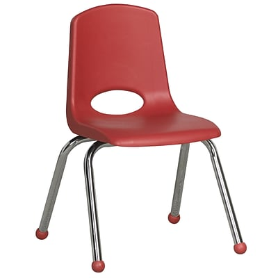 ECR4®Kids 14(H) Plastic Stack Chair With Chrome Legs & Ball Glides, Red, 6/Pack