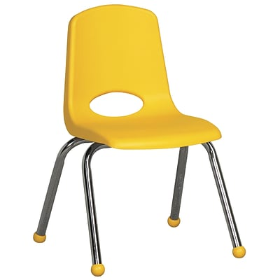 ECR4®Kids 14(H) Plastic Stack Chair With Chrome Legs & Ball Glides, Yellow, 6/Pack