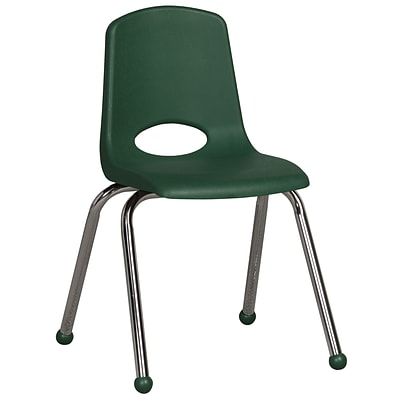 ECR4®Kids 16(H) Plastic Stack Chair With Chrome Legs & Ball Glides, Green, 6/Pack
