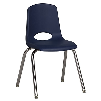 ECR4®Kids 16(H) Plastic Stack Chair w/ Chrome Legs & Nylon Swivel Glides, Navy, 6/Pack