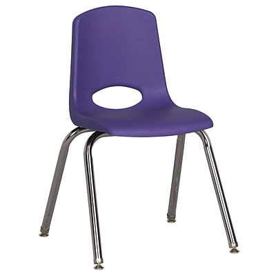 ECR4®Kids 16(H) Plastic Stack Chair With Chrome Legs & Nylon Swivel Glides, Purple, 6/Pack