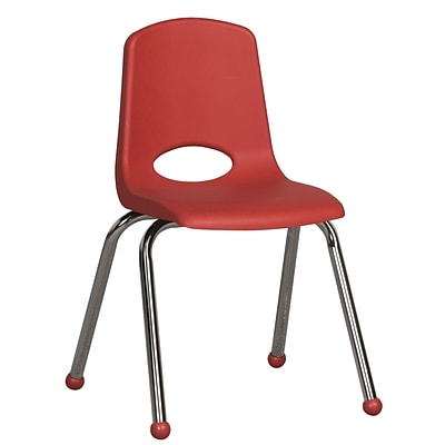 ECR4®Kids 16(H) Plastic Stack Chair With Chrome Legs & Ball Glides; Red, 6/Pack