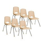 ECR4®Kids 16(H) Plastic Stack Chair With Chrome Legs & Ball Glides; Sand, 6/Pack