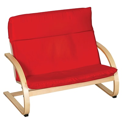 ECR4®Kids Bentwood Double Seat Comfort Chair; Red/Natural