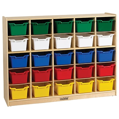 ECR4®Kids 25 Tray Birch Storage Cabinet With 25 Assorted Bins, Natural