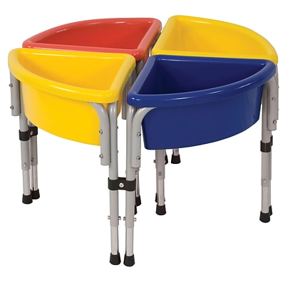 ECR4®Kids 4 Station Round Sand and Water Play Table With Lids; Blue/Red/Yellow