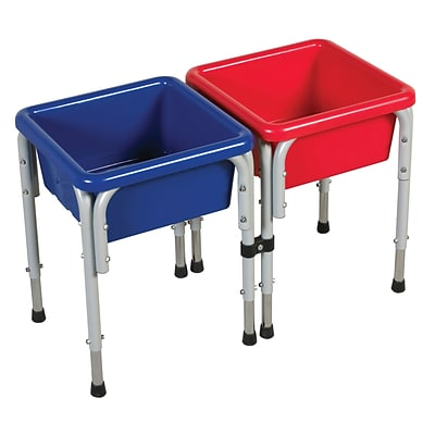 ECR4®Kids 2 Station Square Sand and Water Play Table With Lids; Blue/Red/Yellow
