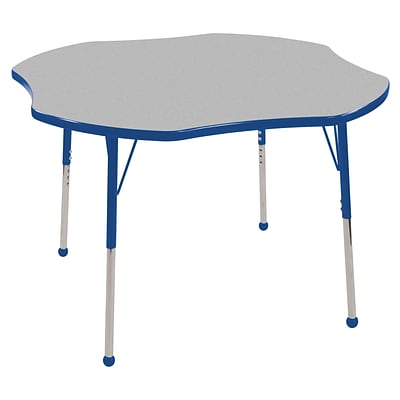 ECR4®Kids 48 Clover Activity Table With Toddler Legs & Ball Glide, Gray/Blue/Blue