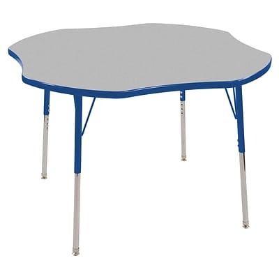 ECR4®Kids 48 Clover Activity Table With Standard Legs & Swivel Glide, Gray/Blue/Blue