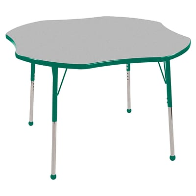 ECR4®Kids 48 Clover Activity Table With Standard Legs & Ball Glide, Gray/Green/Green