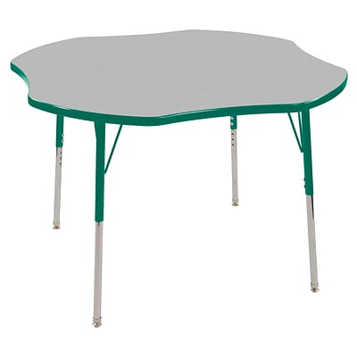 ECR4®Kids 48 Clover Activity Table With Standard Legs & Swivel Glide, Gray/Green/Green