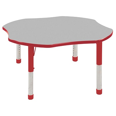 ECR4®Kids 48 Clover Activity Table With Chunky legs & Standard Glide, Gray/Red/Red