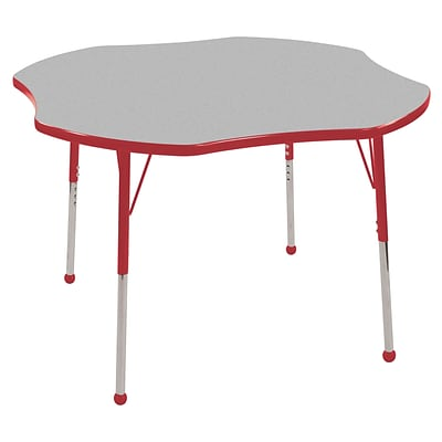 ECR4®Kids 48 Clover Activity Table With Standard Legs & Ball Glide, Gray/Red/Red
