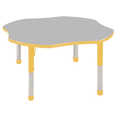 ECR4®Kids 48 Clover Activity Table With Chunky legs & Standard Glide, Gray/Yellow/Yellow