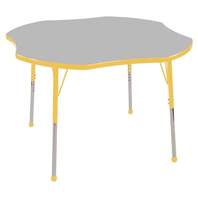ECR4®Kids 48 Clover Activity Table With Toddler Legs & Ball Glide, Gray/Yellow/Yellow