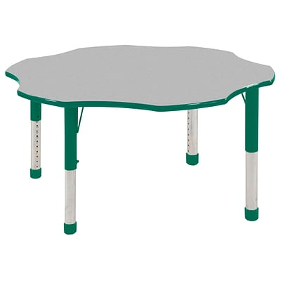 ECR4®Kids 60 Flower Activity Table With Chunky legs & Standard Glide, Gray/Green/Green