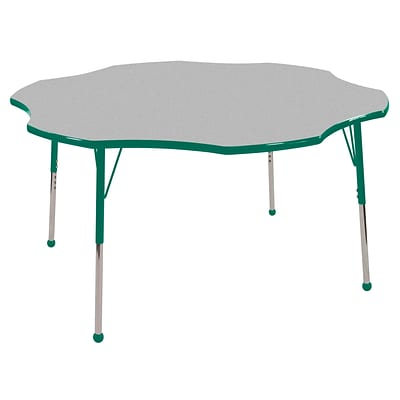 ECR4®Kids 60 Flower Activity Table With Standard Legs & Ball Glide, Gray/Green/Green