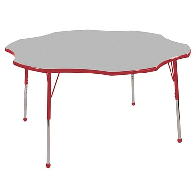ECR4®Kids 60 Flower Activity Table With Standard Legs & Ball Glide, Gray/Red/Red
