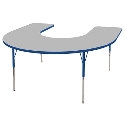 ECR4®Kids 60 x 66 Horseshoe Activity Table With Toddler Legs & Swivel Glide, Gray/Blue/Blue