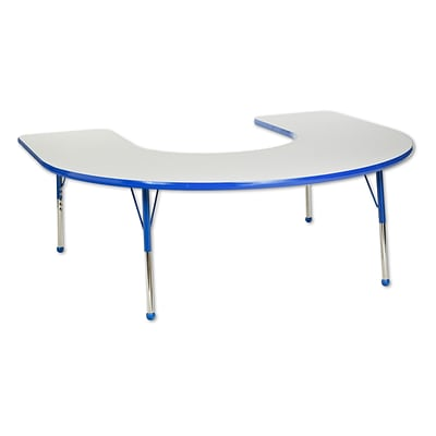 ECR4®Kids 60 x 66 Horseshoe Activity Table With Toddler Legs & Ball Glide, Gray/Blue/Blue