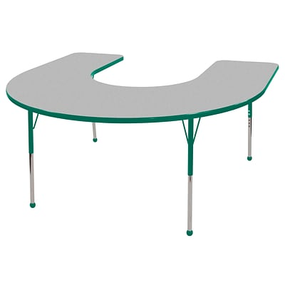 ECR4®Kids 60 x 66 Horseshoe Activity Table With Toddler Legs & Ball Glide, Gray/Green/Green