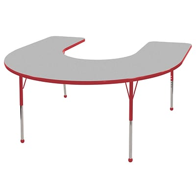 ECR4®Kids 60 x 66 Horseshoe Activity Table With Standard Legs & Ball Glide, Gray/Red/Red