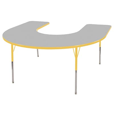ECR4®Kids 60 x 66 Horseshoe Activity Table With Standard Legs & Swivel Glide, Gray/Yellow/Yellow