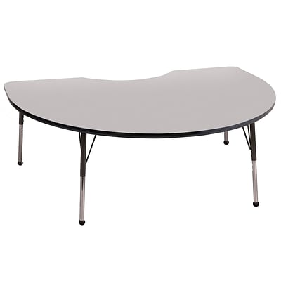 ECR4®Kids 48 x 72 Kidney Activity Table With Toddler Legs & Ball Glide, Gray/Black/Black