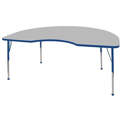 ECR4®Kids 48 x 72 Kidney Activity Table With Standard Legs & Ball Glide, Gray/Blue/Blue