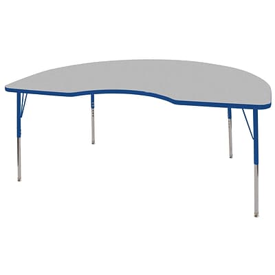 ECR4®Kids 48 x 72 Kidney Activity Table With Toddler Legs & Swivel Glide, Gray/Blue/Blue