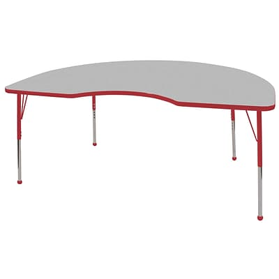 ECR4®Kids 48 x 72 Kidney Activity Table With Standard Legs & Ball Glide; Gray/Red/Red