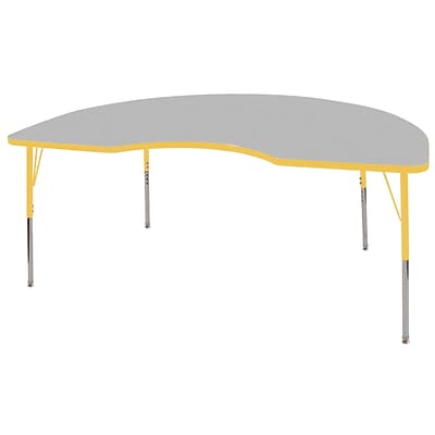 ECR4®Kids 48 x 72 Kidney Activity Table With Toddler Legs & Swivel Glide, Gray/Yellow/Yellow