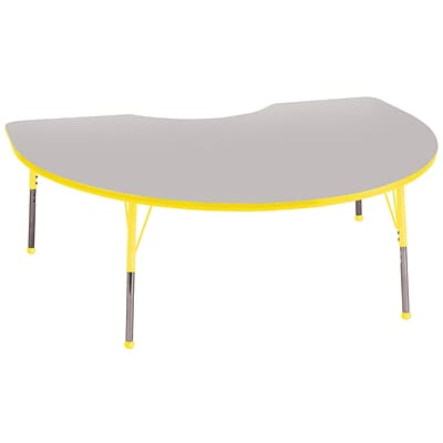 ECR4®Kids 48 x 72 Kidney Activity Table With Toddler Legs & Ball Glide, Gray/Yellow/Yellow