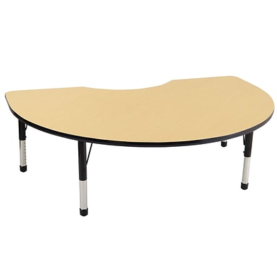 ECR4®Kids 48 x 72 Kidney Activity Table With Chunky legs & Standard Glide, Maple/Black/Black