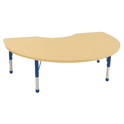 ECR4®Kids 48 x 72 Kidney Activity Table With Chunky legs & Standard Glide, Maple/Maple/Blue