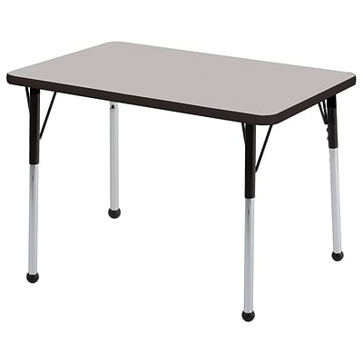 ECR4®Kids 24 x 36 Rectangular Activity Table With Standard Legs & Ball Glide; Gray/Black/Black