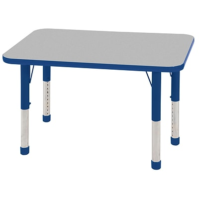 ECR4®Kids 24 x 36 Rectangular Activity Table With Chunky legs & Standard Glide; Gray/Blue/Blue