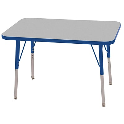 ECR4®Kids 24 x 36 Rectangular Activity Table With Standard Legs & Swivel Glide; Gray/Blue/Blue
