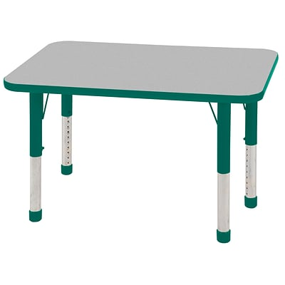 ECR4®Kids 24 x 36 Rectangular Activity Table With Chunky legs & Standard Glide; Gray/Green/Green