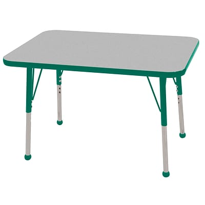 ECR4®Kids 24 x 36 Rectangular Activity Table With Toddler Legs & Ball Glide; Gray/Green/Green